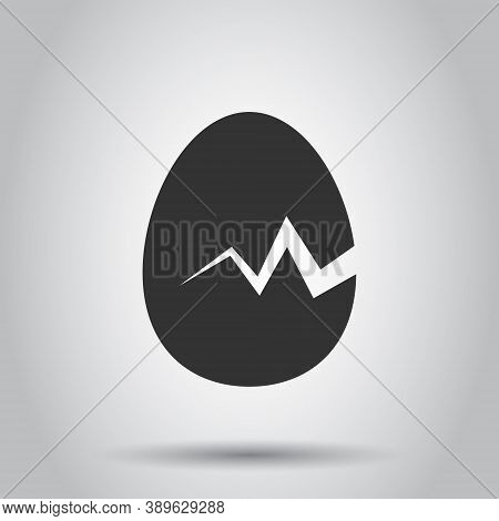 Egg Icon In Flat Style. Breakfast Vector Illustration On White Isolated Background. Eggshell Busines