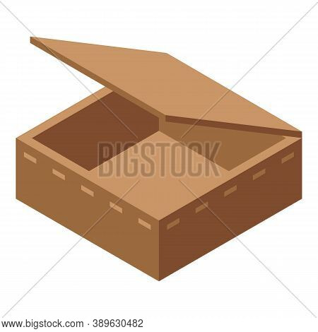 Open Carton Box Icon. Isometric Of Open Carton Box Vector Icon For Web Design Isolated On White Back