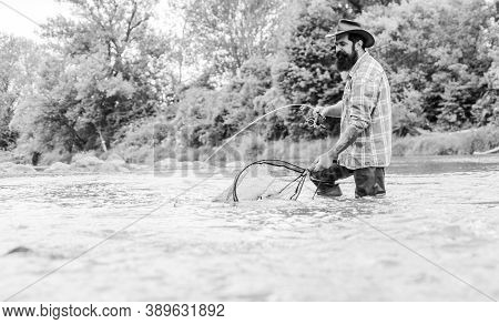 Fishing Provides That Connection With Whole Living World. Find Peace Of Mind. Fishing Hobby. Bearded