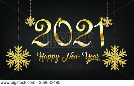 Golden 2021 New Year Vector Background With Golden Snow Flake - 2021 Winter Holiday Greeting Card De