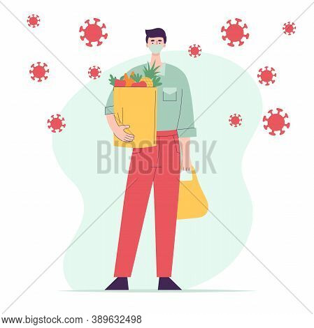 Man In Medical Mask With Paper Bag Full Of Groceries.full Length Character.concept Shopping For Groc