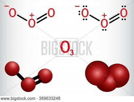 Ozone, O3, Trioxygen, Inorganic Molecule. It Is An Allotrope Of Oxygen. Structural Chemical Formula