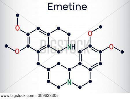 Emetine Molecule. It Is An Antiprotozoal Agent And Emetic. Skeletal Chemical Formula. Vector Illustr