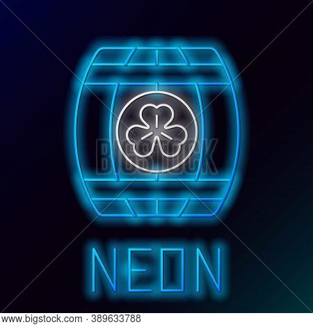 Glowing Neon Line Wooden Barrel With Four Leaf Clover Icon Isolated On Black Background. Alcohol Bar