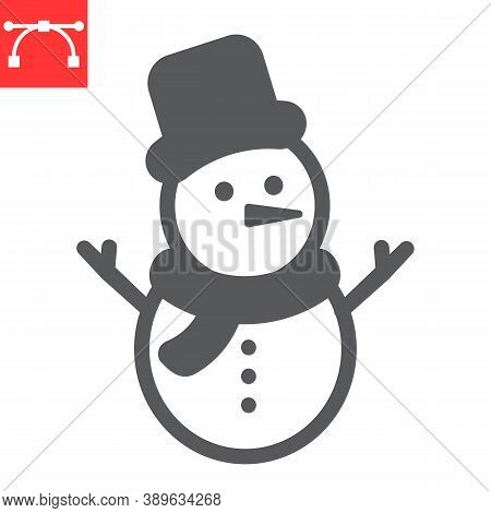 Snowman Glyph Icon, Merry Christmas And Xmas, Snowman Sign Vector Graphics, Editable Stroke Solid Ic