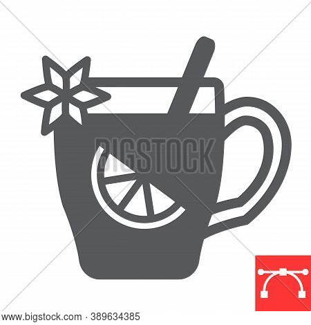Mulled Wine Glyph Icon, Merry Christmas And Invitation, Glass Of Mulled Wine Sign Vector Graphics, E