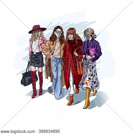 Female Character Wearing Luxury Stylish Clothes Walking Holding Hands. Close Friends With Fashionabl