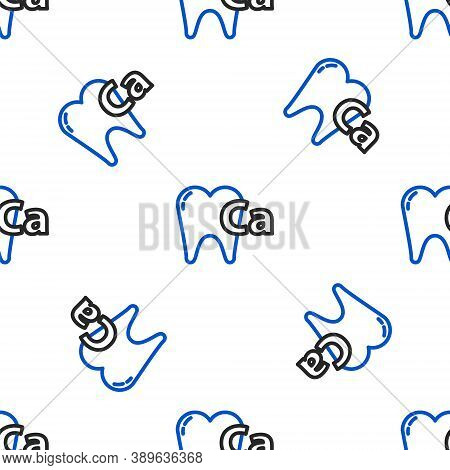 Line Calcium For Tooth Icon Isolated Seamless Pattern On White Background. Tooth Symbol For Dentistr