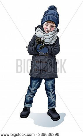 Stylish Boy In Winter, Autumn Or Spring Cloth Holding Green Tree Branches In Hands Isolated Hand Dra