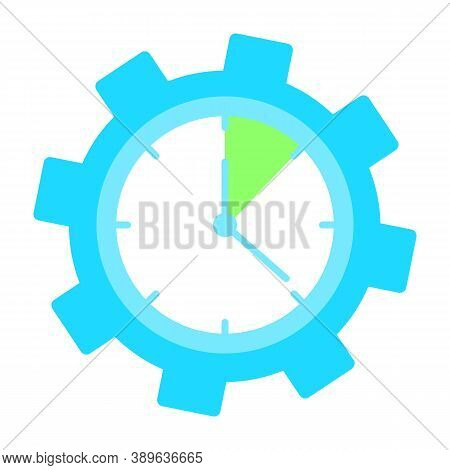 Clock Inside Gear, Time For Conducting Task Isolated Vector Illustration In Flat Style. Learning Sea