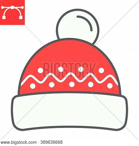 Winter Hat Color Line Icon, Merry Christmas And Clothing, Beanie Hat Sign Vector Graphics, Editable