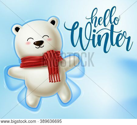 Winter Polar Bear Character Vector Design.  Hello Winter Text In Snowy Space Background With Playing