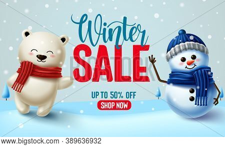 Winter Sale Vector Banner Design. Winter Sale Text With 3d Snowman And Polar Bear Characters For Win