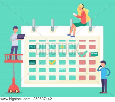 Group Of People Near Calendar Building Up Schedule. Vector Illustration, People Planning Business To