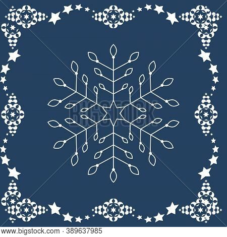 Pattern Christmas Theme. Snowflakes And Frieze With Stars. Colors Blue And White. Vector Illustratio