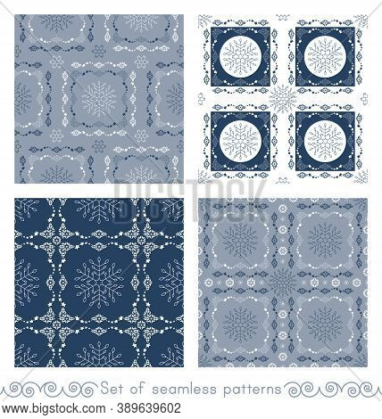 Set Of Seamless Patterns. Christmas Theme. Snowflakes And Frieze With Stars. Pretty Colors Ice Blue,