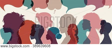 Silhouette Group Multiethnic Diversity Women Who Talk And Share Ideas And Information. Communication
