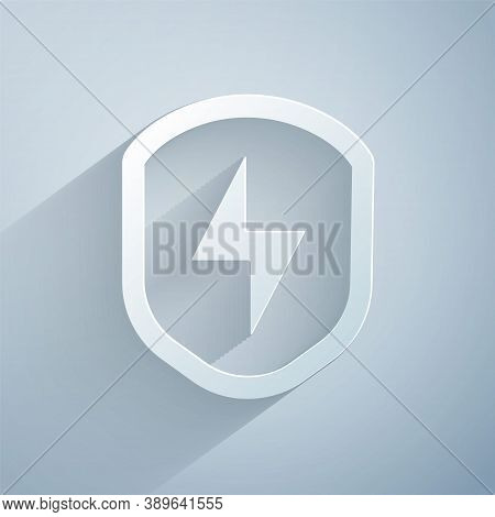 Paper Cut Secure Shield With Lightning Icon Isolated On Grey Background. Security, Safety, Protectio