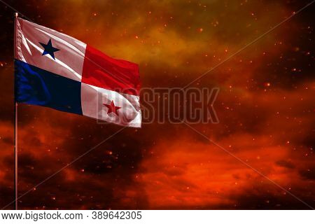 Fluttering Panama Flag Mockup With Blank Space For Your Data On Crimson Red Sky With Smoke Pillars B