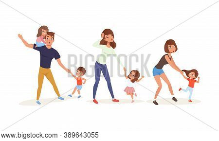 Tired Parents And Hyperactive Children Claiming Attention Vector Illustration Set