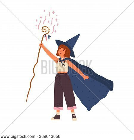 Cute Girl Wearing Witch Hat And Cloak Conjures With Magic Stick. Young Female Wizard Or Sorcerer. Ad
