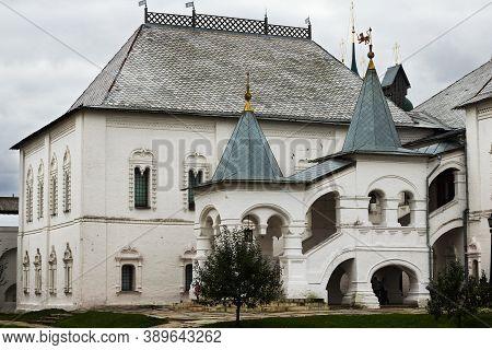 Russia, Rostov Veliky, September 2020. Rostov Kremlin Red Chamber. White Porch Of The Red Chamber Of