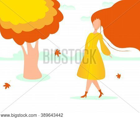Autumn Mood. A Woman With Long Red Hair Walks Past A Tree With Orange Leaves