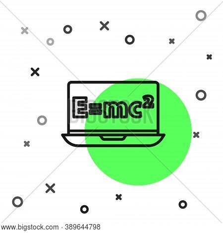 Black Line Math System Of Equation Solution On Laptop Icon Isolated On White Background. E Equals Mc