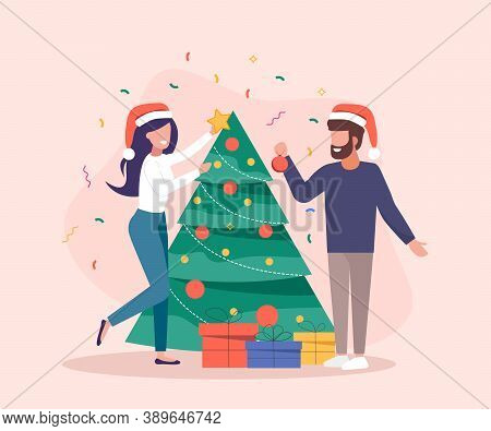 Characters decoration. Young beautiful couple decorate Christmas tree. Gifts under christmas tree. Merry Christmas card vector Illustration.Christmas. Christmas Vector. Christmas Background. Merry Christmas Vector. Merry Christmas banner. Christmas illust