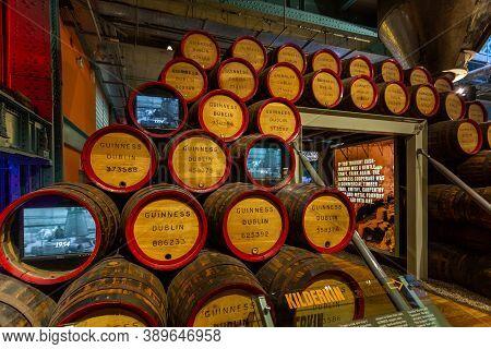 Dublin, Ireland - 09 November 2015: Interior Of Guinness Store In Dublin. Brewery Barrels, Kilderkin