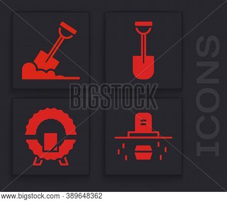 Set Grave With Coffin, Shovel In The Ground, Shovel And Memorial Wreath Icon. Vector
