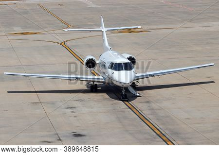 Private Jet Airplane Parked On The Runway At The Airport