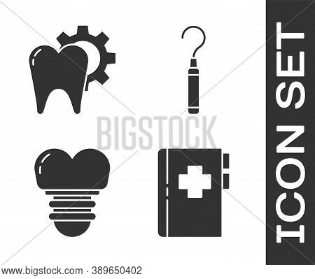 Set Clipboard With Dental Card, Tooth Treatment Procedure, Dental Implant And Dental Explorer Scaler