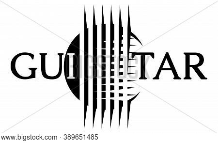 Stylish Logo With Guitar Strings. Monochrome Vector Illustration.
