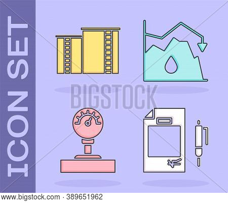 Set Contract Money And Pen, Oil Industrial Factory Building, Gauge Scale And Drop In Crude Oil Price