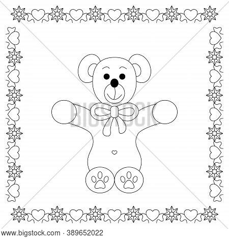 Cute Christmas Teddy Bear. Coloring Page. Vector Illustration.