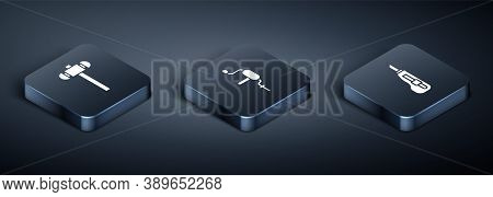 Set Isometric Sledgehammer, Stationery Knife And Hand Drill Icon. Vector