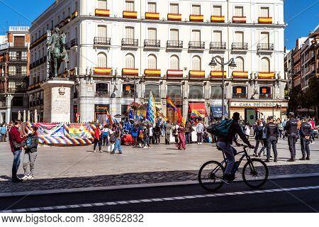 Madrid, Spain - October 11, 2020: Demonstration In Puerta Del Sol Against Hispanity Day.