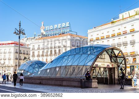 Madrid, Spain - October 11, 2020: Sol Metro Station In Puerta Del Sol Square In Central Madrid.