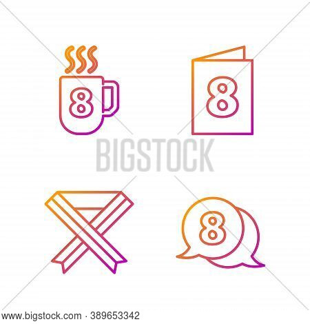 Set Line 8 March In Speech Bubble, Breast Cancer Awareness Ribbon, Coffee Cup With 8 March And Greet