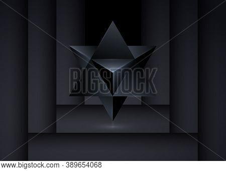 Sacred Geometry. 3d Merkaba Thin Line Geometric Triangle Shape. Esoteric Or Spiritual Symbol. Isolat