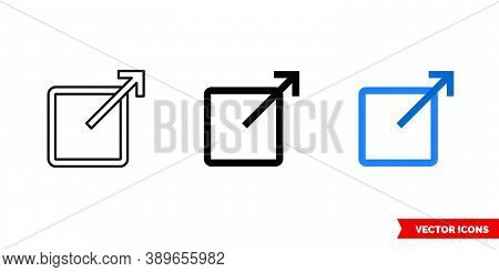 External Link Icon Of 3 Types Color, Black And White, Outline. Isolated Vector Sign Symbol.