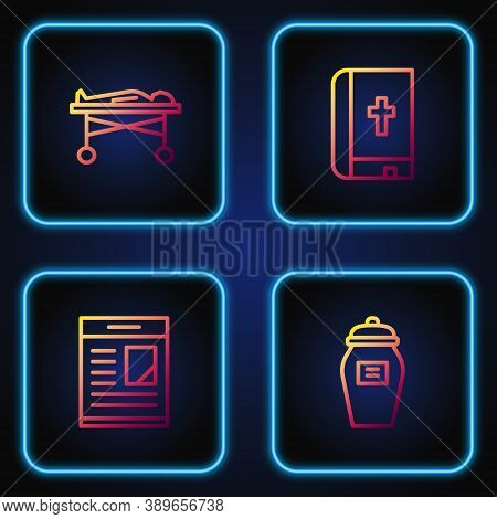 Set Line Funeral Urn, Obituaries, Dead Body In The Morgue And Holy Bible Book. Gradient Color Icons.