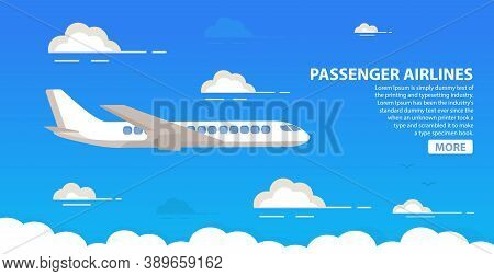 Passenger Airlines. Clouds Blue Sky Airplane.jet Plane.aviation Airliner.