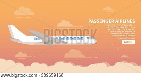 Passenger Airlines. Clouds Sunset Sky Airplane.jet Plane.aviation Airliner.poster Flat Vector.
