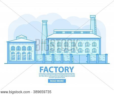 Factory Building.industrial Factory Concept. Old Vintage Plant.