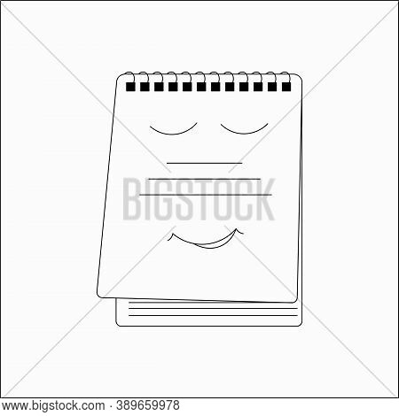 A School Copybook Outline Icon. A Study Notebook . Concept Of Education, Back To School. Vector Illu