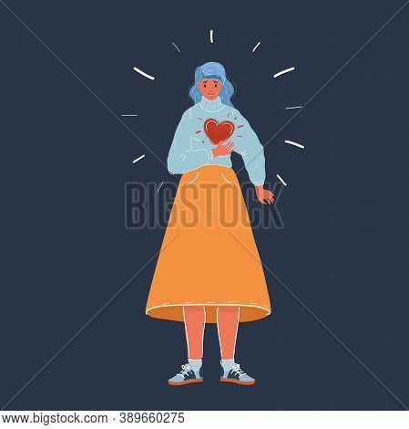 Vector Illustration Of Woman Clutching His Chest. She Having Heart Or Panic Attack. Woman Character