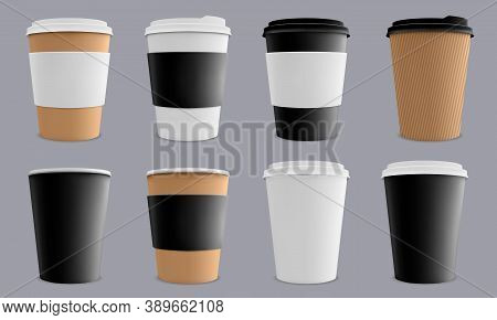 Realistic Coffee Cup. Paper Cardboard Coffee Cups, Cafe Or Restaurant 3d Paper Coffee Disposable Cup