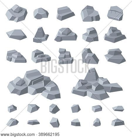 Granite Rocks. Stone Gravel Rock, Geology Mountain Pebble, Grey Pile Of Rocks, Mountainous Stone Hea